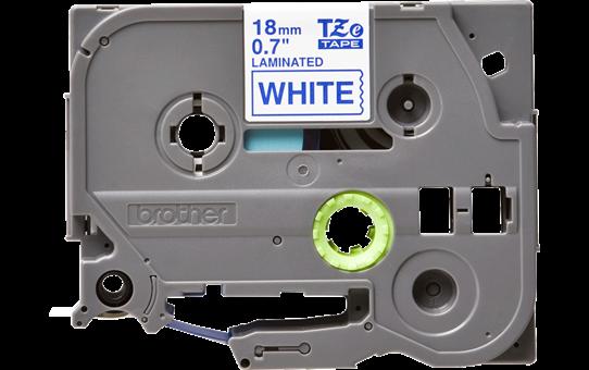 Original Brother TZe243 merketape – blå på hvit, 18 mm bred 2