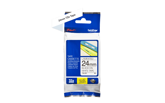Genuine Brother TZe-251 Labelling Tape Cassette – Black on White, 24mm wide 3