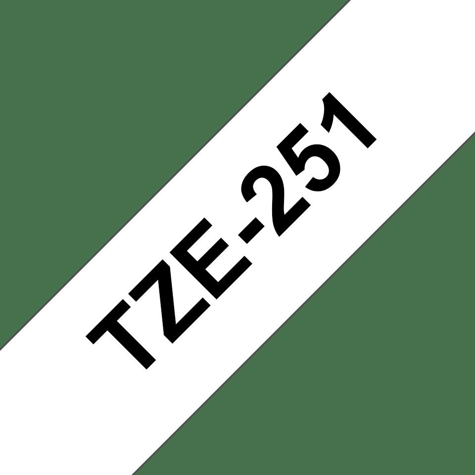 Oryginalna taśma TZe-251 firmy Brother – czarny nadruk na białym tle, 24mm szerokości