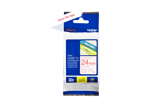 Genuine Brother TZe-252 Labelling Tape Cassette – Red on White, 24mm wide 3