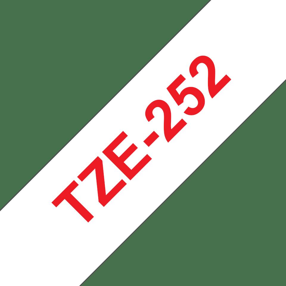 Originele Brother TZe-252 label tapecassette – rood op wit, breedte 24 mm