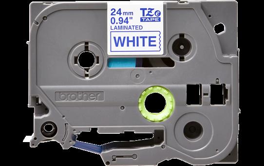 Oryginalna taśma TZe-253 firmy Brother – niebieski nadruk na białym tle, 24mm szerokości 2