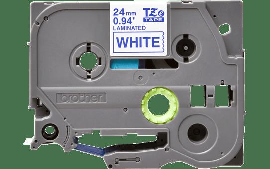 Casetă cu bandă de etichete originale Brother TZe-253 – albastru pe alb, lățime de 24mm 2