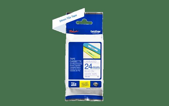 Brother TZe-253  -  син текст на бяла ламинирана лента,  24mm ширина 3