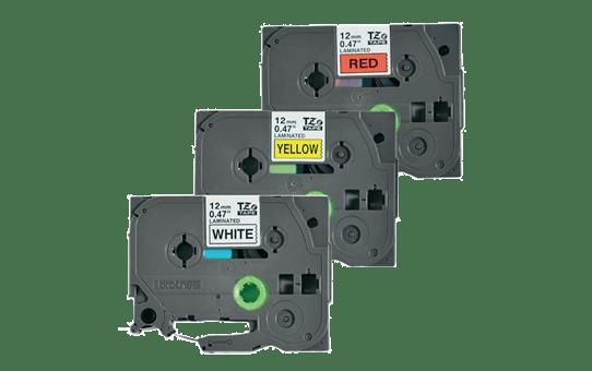 Originální kazety s páskou Brother TZe-31M3 - černá na červené, bílé a žluté, šířka 12 mm 2