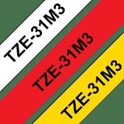 Brother P-touch TZe31M3 merketape sort på rød, sort på hvit og sort på gul i 12 mm bredde