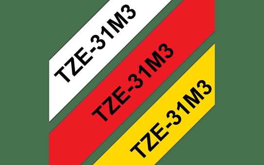 Cassettes à ruban pour étiqueteuse TZe-31M3 Brother originales – Noir sur rouge, noir sur blanc et noir sur jaune, 12mm de large