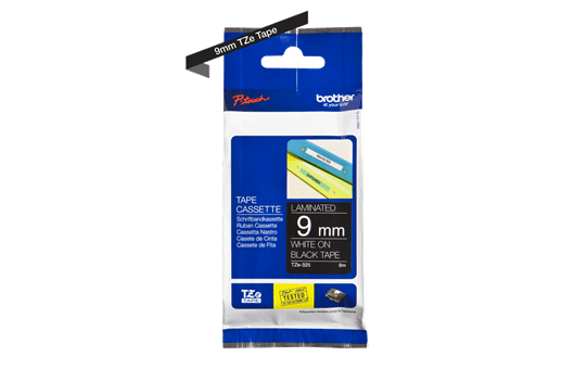 Genuine  Brother TZe-325 Labelling Tape Cassette – White on Black, 9mm wide 3