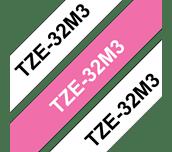 Cassetta nastro per etichettatura originale Brother TZe-32M3 – Nero su bianco, bianco su rosa bacca fluorescente opaco, 12 mm di larghezza