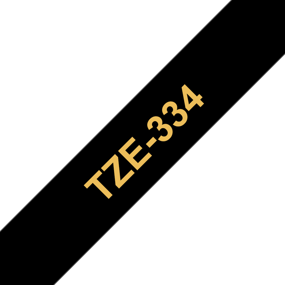 Genuine Brother TZe-334 Labelling Tape Cassette – Gold On Black, 12mm wide