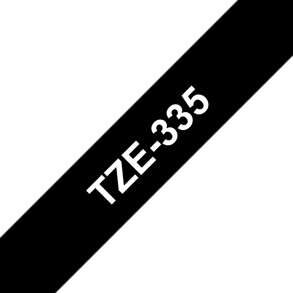 Genuine Brother TZe-335 Labelling Tape – White on Black, 12mm wide