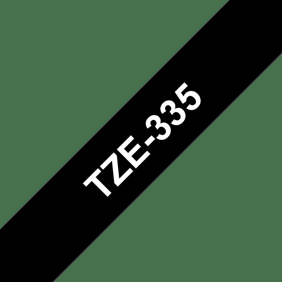 Ruban pour étiqueteuse TZe-335 Brother original – Blanc sur noir, 12mm de large