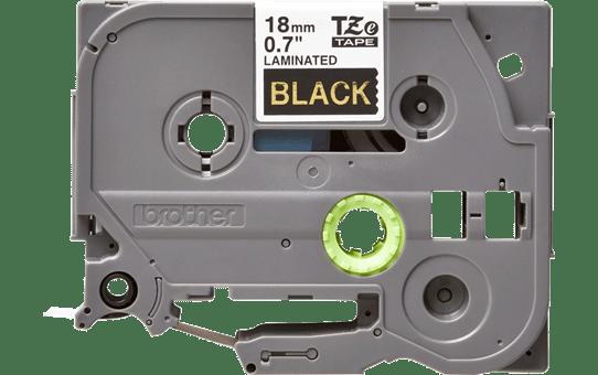 Oriģinālā Brother TZe344 zelta drukas melna uzlīmju lentes kasete, 18mm plata 2