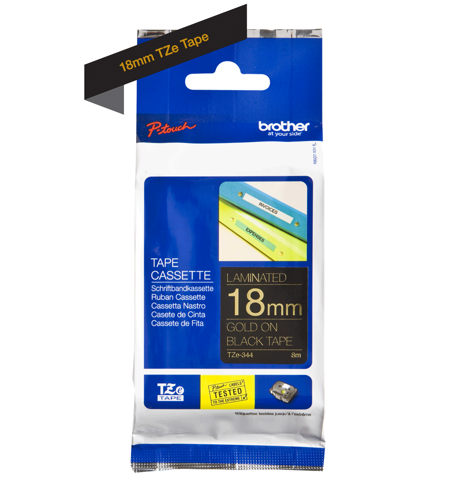 Genuine Brother TZe-344 Labelling Tape Cassette – Gold On Black, 18mm wide 3
