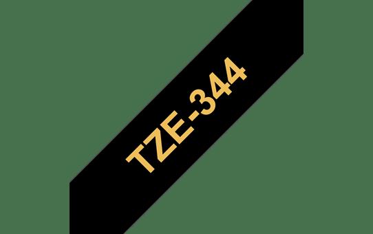 Original Brother TZe344 merketape– gull på sort, 18 mm bred