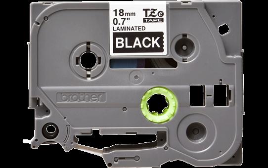 Brother TZe345: оригинальная кассета с лентой для печати наклеек белым на черном фоне, ширина 18 мм.
