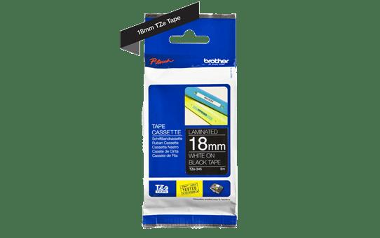 Oriģinālā Brother TZe345 baltas drukas melna uzlīmju lentes kasete, 18mm plata 3