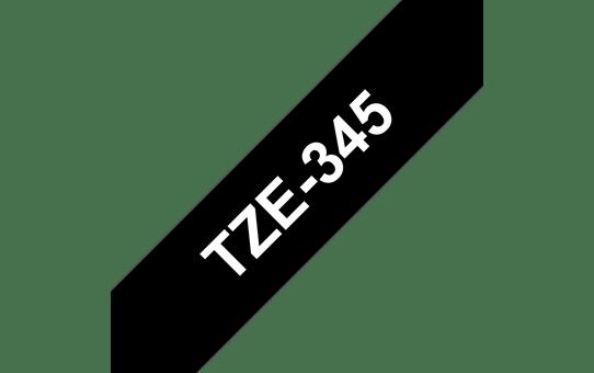 Original Brother TZe345 merketape – hvit på sort, 18 mm bred