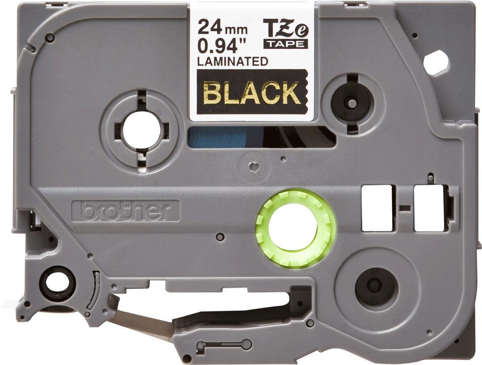 Brother TZe354: оригинальная кассета с лентой для печати наклеек золотистым на черном фоне, ширина: 24 мм.