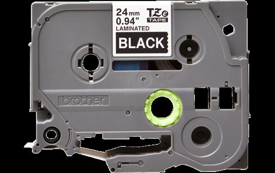 Oryginalna taśma TZe-355 firmy Brother – biały nadruk na czarnym tle, 24mm szerokości  2