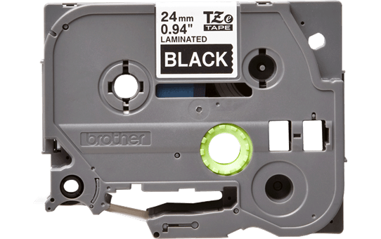 Brother TZe-355 - бял текст на черна ламинирана лента, 24mm ширина 2