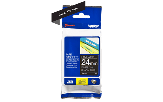 Genuine Brother TZe-355 Labelling Tape Cassette – White On Black, 24mm wide 3