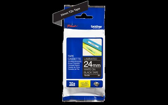 Originele Brother TZe-355 label tapecassette – wit op zwart, breedte 24 mm 3