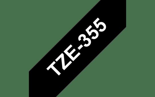 Original Brother TZe355 merketape – hvit på sort, 24 mm bred