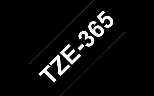 Original Brother TZe365 merketape – hvit på sort, 36 mm bred