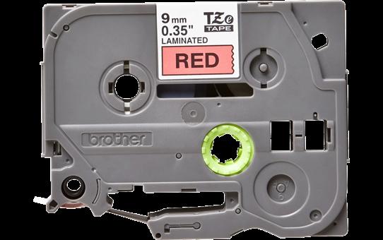 Oryginalna taśma TZe-421 firmy Brother – czarny nadruk na czerwonym tle, 9mm szerokości 2