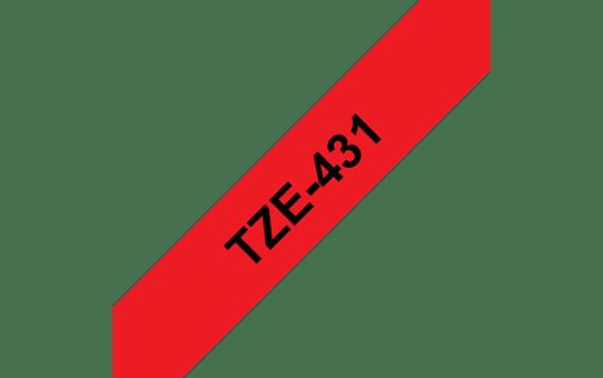 Cassette à ruban pour étiqueteuse TZe-431 Brother originale – Noir sur rouge, 12mm de large