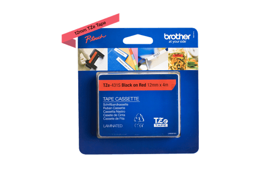 Brother TZe431S original etikettape, svart på röd, 12 mm  2