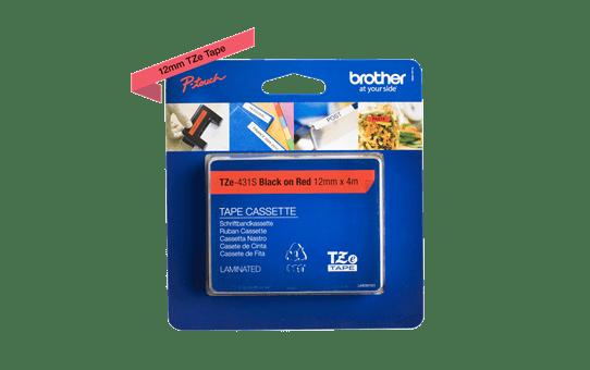 Cassetta nastro per etichettatura originale Brother TZe-431S – Nero su rosso, 12 mm di larghezza 2