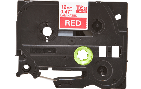 Eredeti Brother TZe-435 laminált szalag – Piros alapon fehér, 12mm széles 2