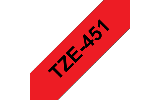 Genuine Brother TZe-451 Labelling Tape Cassette – Black on Red, 24mm wide 2
