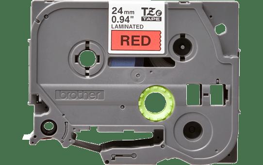 Oriģinālā Brother TZe451 melnas drukas sarkana uzlīmju lentes kasete, 24mm plata 2