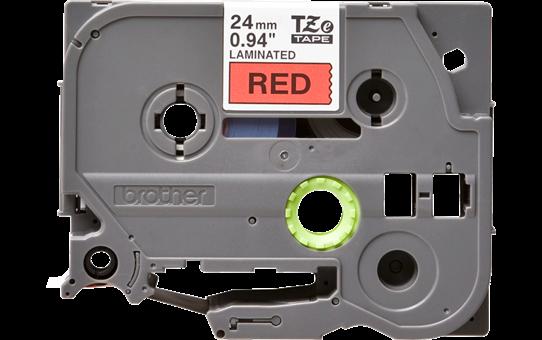 Oryginalna taśma TZe-451 firmy Brother – czarny nadruk na czerwonym tle, 24mm szerokości 2