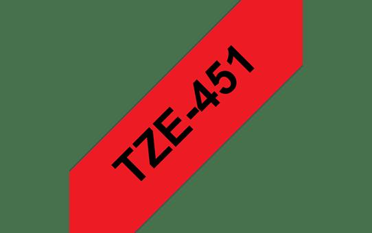 Original Brother TZe451 tape – sort på rød, 24 mm bred