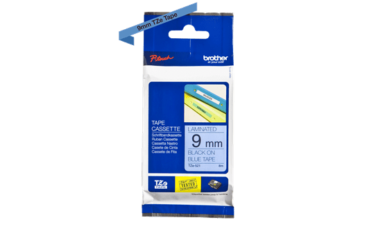 Cassetta nastro per etichettatura originale Brother TZe-521 – Nero su blu, 9 mm di larghezza 2