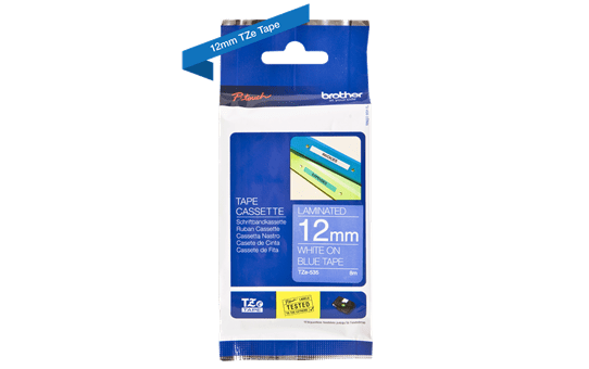 Original Brother TZe535 tape – hvid på blå, 12 mm bred 3