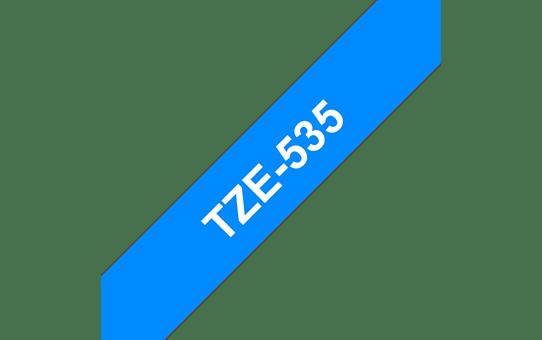 Original Brother TZe535 merketape – hvit på blå, 12 mm bred