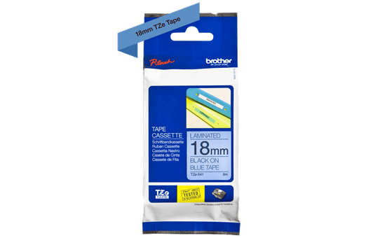 Genuine Brother TZe-541 Labelling Tape Cassette – Black on Blue, 18mm wide 3