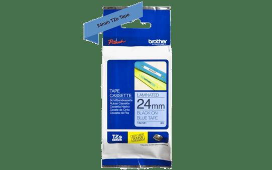 Genuine Brother TZe-551 Labelling Tape Cassette – Black on Blue, 24mm wide 3