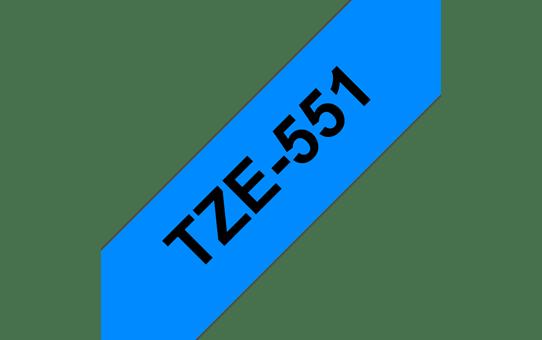 Original Brother TZe551 merketape – sort på blå, 24 mm bred