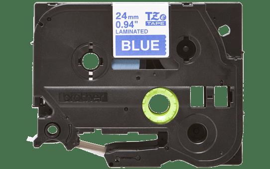 Oriģinālā Brother TZe555 baltas drukas zila uzlīmju lentes kasete, 24mm plata