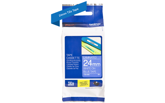 Genuine Brother TZe-555 Labelling Tape Cassette – White On Blue, 24mm wide 3