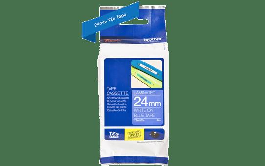 Genuine Brother TZe-555 - бял текст на синя ламинирана лента, ширина 24mm 3