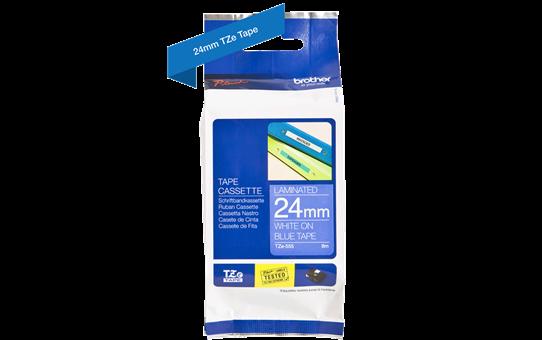Original TZe-555 Schriftbandkassette von Brother – Weiß auf Blau, 24mm breit 3