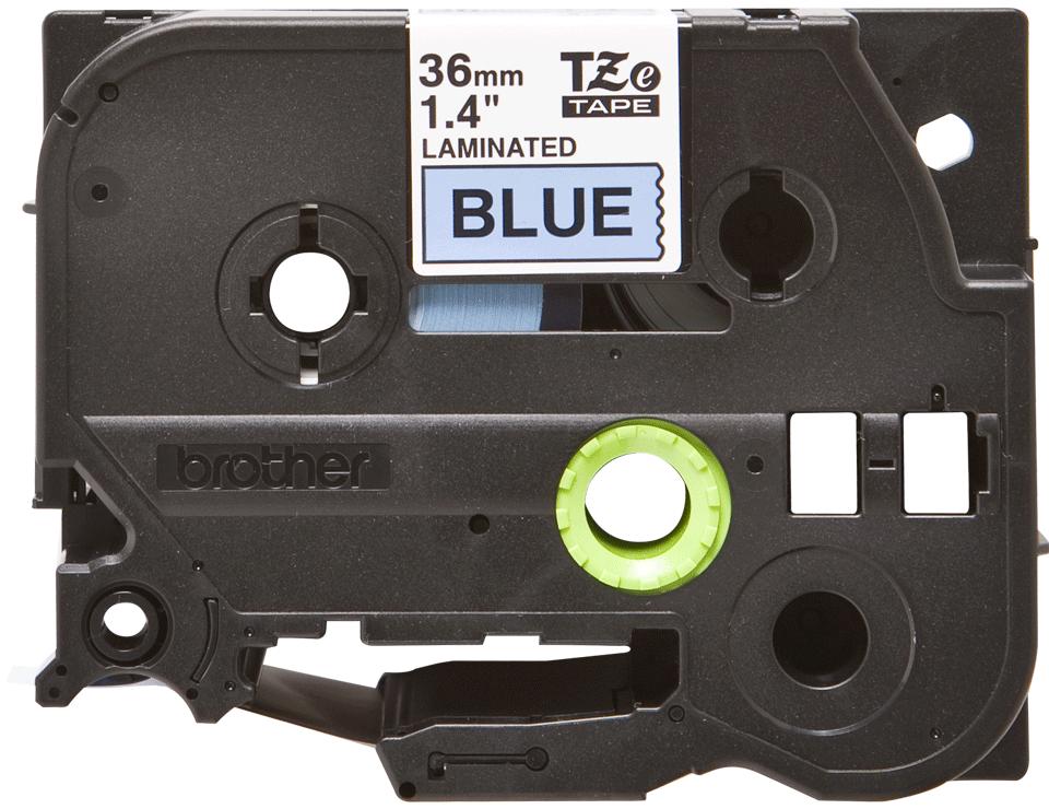 Eredeti Brother TZe-561 laminált szalag – Kék alapon fekete, 36 mm széles 2