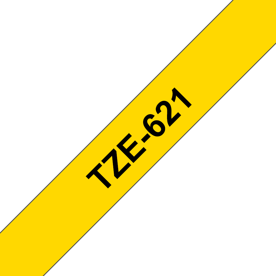 Genuine  Brother TZe-621 Labelling Tape Cassette – Black on Yellow, 9mm wide